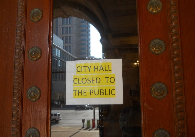 City government buildings close to public; essential services all continue