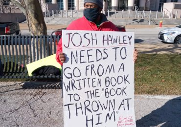 Protesters rally downtown, demand Hawley's resignation